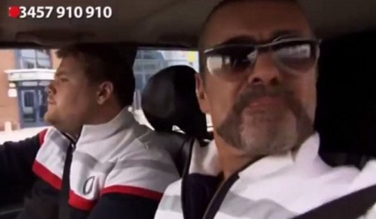 George Michael joined James Corden for the Comic Relief sketch (Picture: BBC)