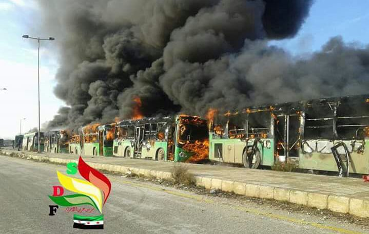 Aleppo evacuation buses set on fire after coming under attack