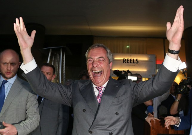 """Leader of the United Kingdom Independence Party (UKIP), Nigel Farage reacts at the Leave.EU referendum party at Millbank Tower in central London on June 24, 2016, as results indicate that it looks likely the UK will leave the European Union (EU). Top anti-EU campaigner Nigel Farage said he was increasingly confident of victory in Britain's EU referendum on Friday, voicing hope that the result """"brings down"""" the European Union. / AFP / GEOFF CADDICK (Photo credit should read GEOFF CADDICK/AFP/Getty Images)"""