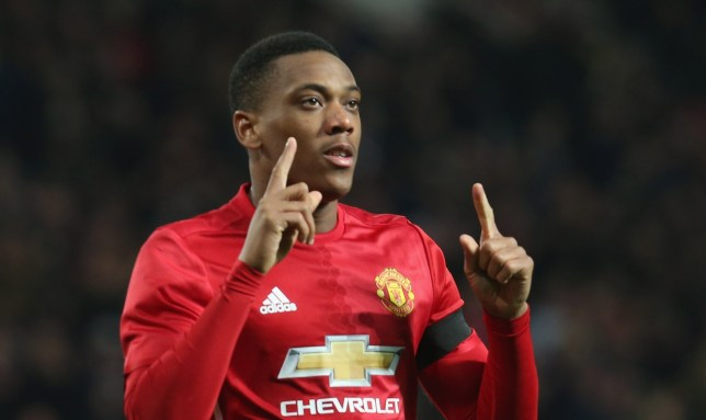 MANCHESTER, ENGLAND - NOVEMBER 30: Anthony Martial of Manchester United celebrates scoring their second goal during the EFL Cup Quarter-Final match between Manchester United and West Ham United at Old Trafford on November 30, 2016 in Manchester, England. (Photo by John Peters/Man Utd via Getty Images)