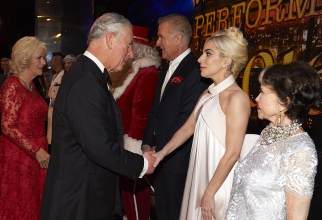 Prince Charles greets Lady Gaga during the Royal Variety Performance (Picture: Getty)