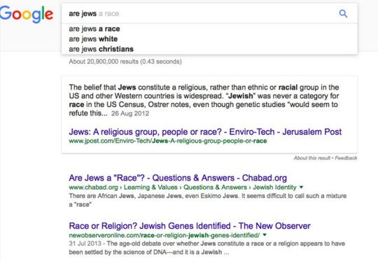Jews no longer 'evil' but Muslims still 'bad', according to Google
