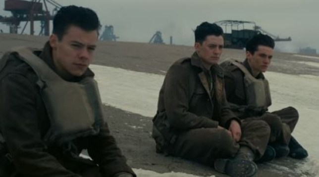Harry Styles (left) makes his big screen debut in Dunkirk (Picture: Warner Bros/YouTube)