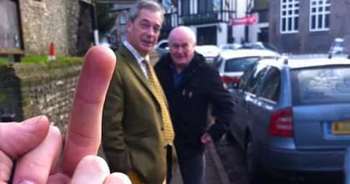 Nigel Farage given the finger before he enjoyed a spot of hunting