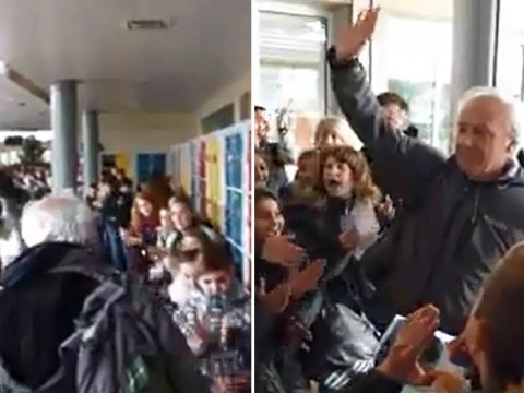 Entire school turns out to give retiring gym teacher an epic send off