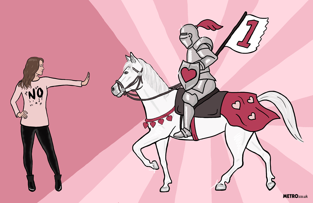Woman stopping knight on horseback