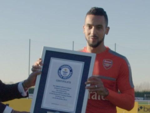 Arsenal star Theo Walcott beats Koscielny, Coquelin and Monreal to set Guinness World Record