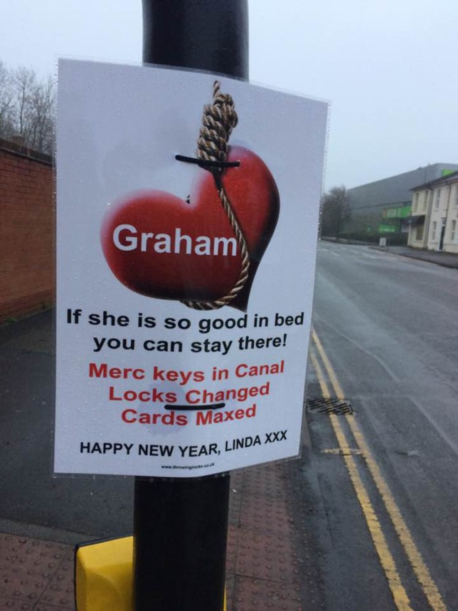 Woman gets revenge on cheating partner by putting posters all over