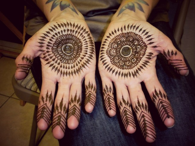Natural henna mandala palms