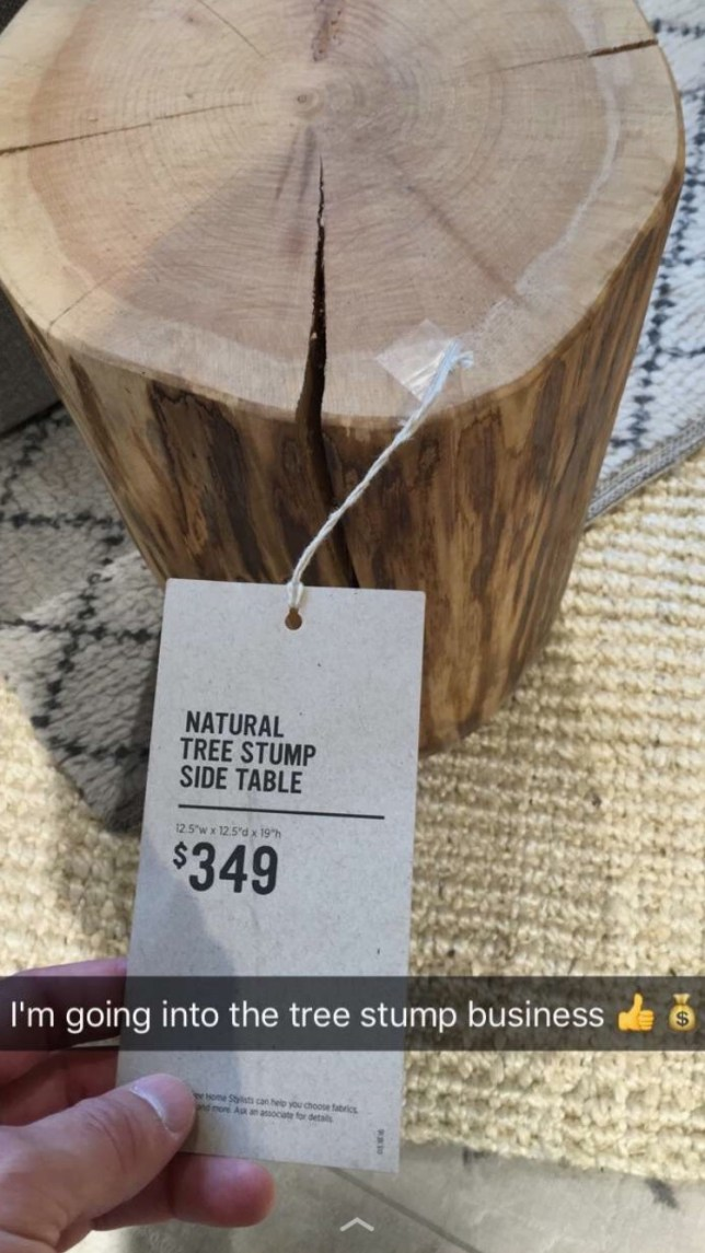 The price of this tree trunk will make you want to go into the tree trunk business Credit: Reddit/Rastamur