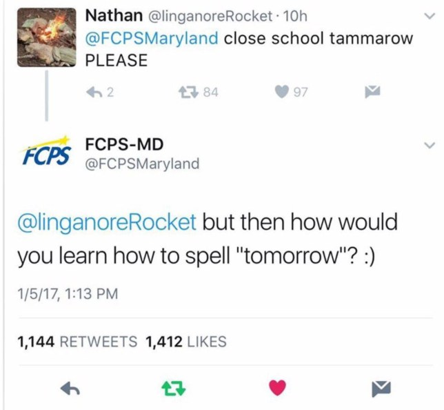 School worker fired for correcting student's spelling on Twitter Credit Twitter/FCPSMaryland/LinganoreRocket