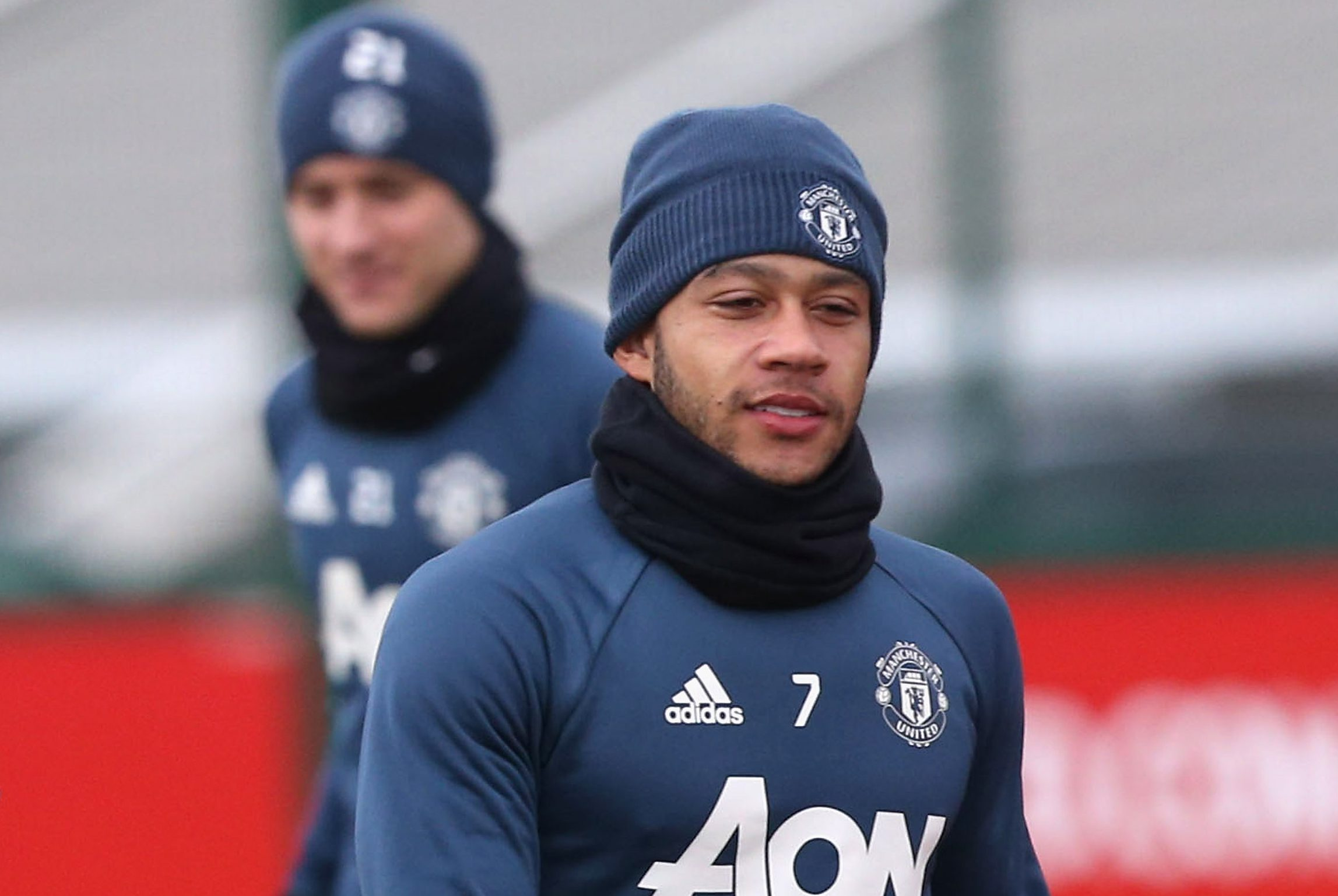 MANCHESTER, ENGLAND - DECEMBER 21: (EXCLUSIVE COVERAGE) Memphis Depay of Manchester United in action during a first team training session at Aon Training Complex on December 21, 2016 in Manchester, England. (Photo by John Peters/Man Utd via Getty Images)