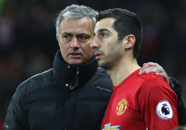 MANCHESTER, ENGLAND - DECEMBER 26: Manager Jose Mourinho of Manchester United speaks to Henrikh Mkhitaryan during the Premier League match between Manchester United and Sunderland at Old Trafford on December 26, 2016 in Manchester, England. (Photo by John Peters/Man Utd via Getty Images)