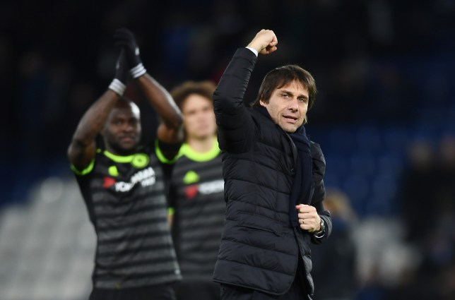 LEICESTER, ENGLAND - JANUARY 14:  Antonio Conte, Manager of Chelsea celebrates following his team's 3-0 victory during the Premier League match between Leicester City and Chelsea at The King Power Stadium on January 14, 2017 in Leicester, England.  (Photo by Laurence Griffiths/Getty Images)