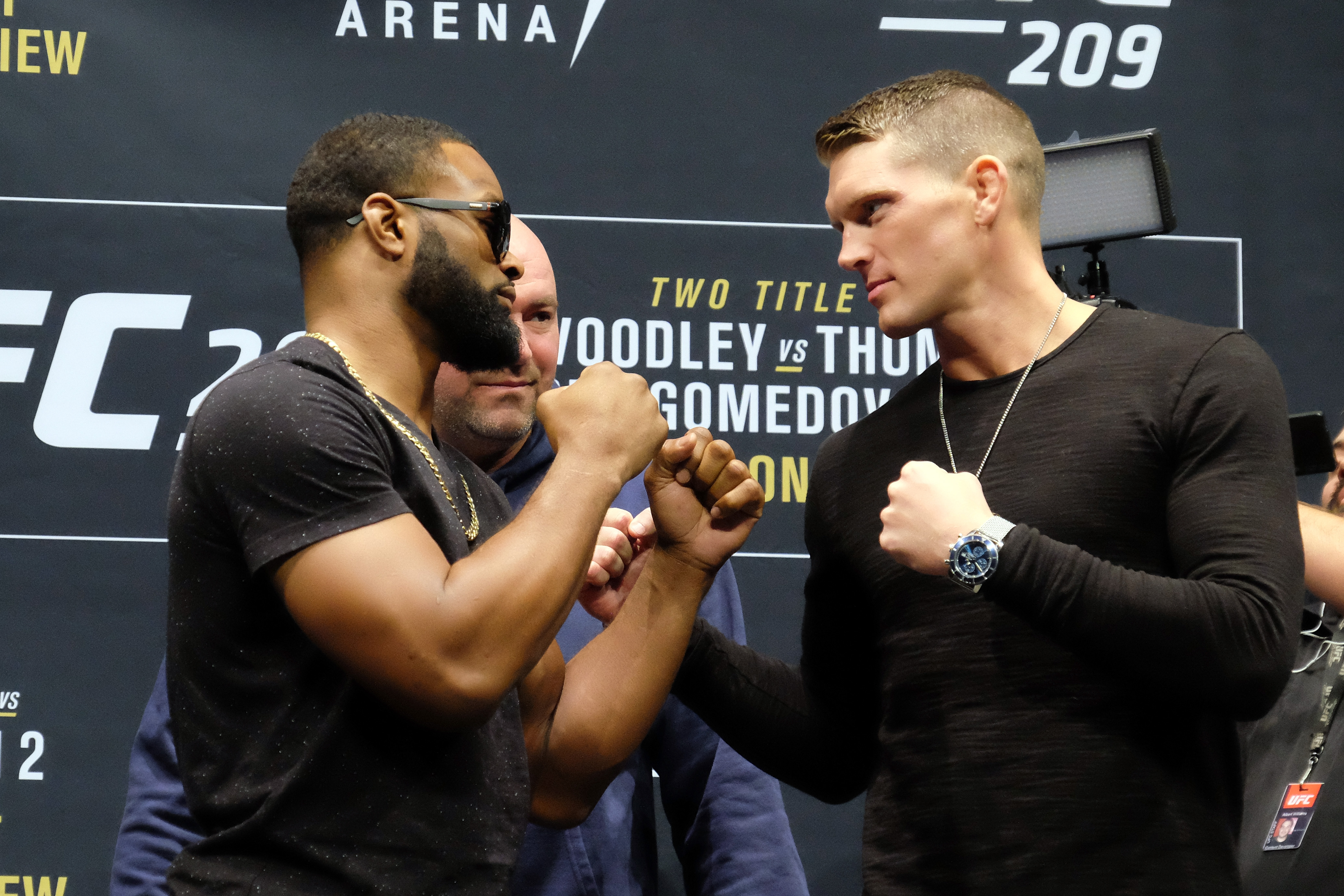 LAS VEGAS, NV - JANUARY 19: (L-R) UFC Welterweight Champion Tyron Woodley and No. 1 UFC welterweight contender Stephen Thompson face off during the UFC 209 Ultimate Media Day event inside The Park Theater on January 19, 2017 in Las Vegas, Nevada. (Photo by Juan Cardenas/Zuffa LLC/Zuffa LLC via Getty Images)