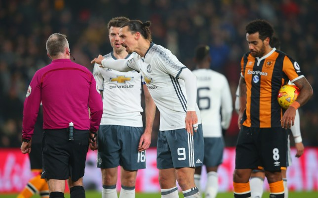 HULL, ENGLAND - JANUARY 26: Zlatan Ibrahimovic of Manchester United (9) protests to referee Jonathan Moss as he awards a penalty during the EFL Cup Semi-Final second leg match between Hull City and Manchester United at KCOM Stadium on January 26, 2017 in Hull, England. (Photo by Alex Livesey/Getty Images)
