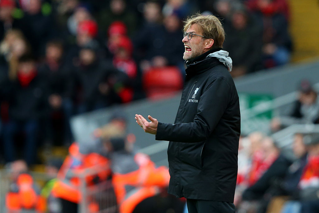LIVERPOOL, ENGLAND - JANUARY 28: Jurgen Klopp manager of Liverpool reacts during the Emirates FA Cup Fourth Round match between Liverpool and Wolverhampton Wanderers at Anfield on January 28, 2017 in Liverpool, England. (Photo by Alex Livesey/Getty Images)