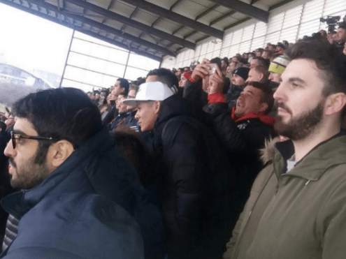 Marcos Rojo pictured in Manchester United away end at Stoke City despite missing game through illness