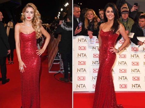 Stacey Solomon and Sam Quek totally embrace wearing the same dress at the National Television Awards
