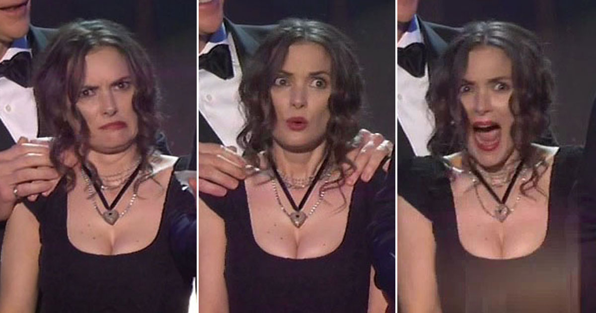Winona Ryder's hilarious faces totally outshone Stranger Things winning at the SAG Awards 2017
