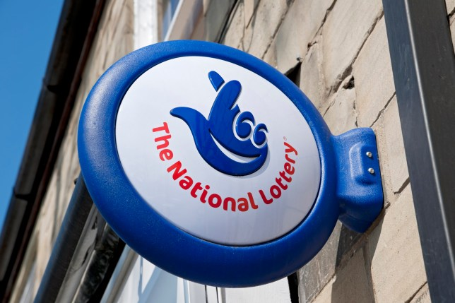 The National Lottery sign on a shop.