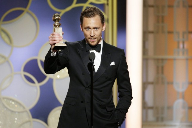 """BEVERLY HILLS, CA - JANUARY 08: In this handout photo provided by NBCUniversal, Tom Hiddleston accepts the award for Best Actor - Limited Series or Motion Picture for TV for his role in """"The Night Manager"""" onstage during the 74th Annual Golden Globe Awards at The Beverly Hilton Hotel on January 8, 2017 in Beverly Hills, California. (Photo by Paul Drinkwater/NBCUniversal via Getty Images)"""