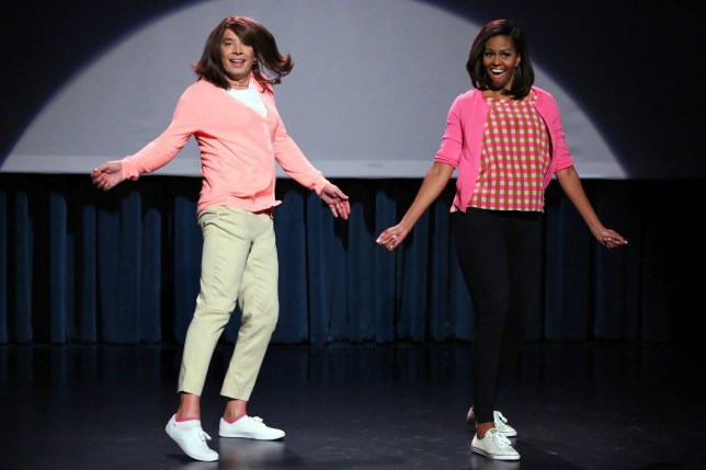 """Michelle Obama's best moments as FLOTUSTHE TONIGHT SHOW STARRING JIMMY FALLON -- Episode 0238 -- Pictured: (l-r) Host Jimmy Fallon and First Lady Michelle Obama during the """"Evolution of Mom Dancing Part 2"""" skit on April 2, 2015 -- (Photo by: Douglas Gorenstein/NBC)"""