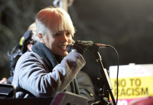Mandatory Credit: Photo by Finbarr Webster/REX/Shutterstock (7944863bs) Lily Allen at the Donald Trump protest at the US Embassy in London, UK Anti-Trump protest at the US Embassy in London, UK - 20 Jan 2017