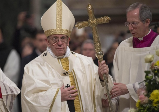Pope Francis celebrates a Mass at the end of the Jubilee (Holy Year) of the Dominicans, inside the Basilica of St. John Lateran, in Rome, Saturday, Jan. 21, 2017. (Giorgio Onorati/ANSA via AP)