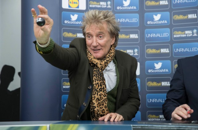 Handout photo provided by Steve Welsh of Sir Rod Stewart pulls out Rangers Ball during the William Hill Scottish Cup 5th Round Cup Draw at the Excelsior Stadium Airdrie. PRESS ASSOCIATION Photo. Issue date: Sunday January 22, 2017. Photo credit should read: Steve Welsh/PA Wire. NOTE TO EDITORS: This handout photo may only be used in for editorial reporting purposes for the contemporaneous illustration of events, things or the people in the image or facts mentioned in the caption. Reuse of the picture may require further permission from the copyright holder.
