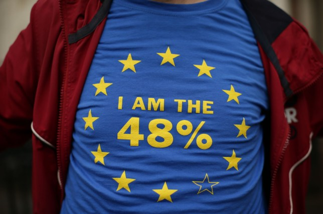 File photo dated 13/10/16 of a protester outside the High Court in London, as the Supreme Court will deliver its landmark ruling on who has the power to formally trigger Brexit. PRESS ASSOCIATION Photo. Issue date: Tuesday January 24, 2017. The decision of 11 judges will determine whether Prime Minister Theresa May can invoke Article 50 of the Lisbon Treaty herself, or if she needs the permission of Parliament to do so. See PA story POLITICS Brexit. Photo credit should read: Yui Mok/PA Wire