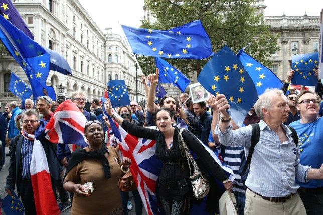 Europe day protests (Getty) Demonstrators on an anti-Brexit March for Europe hold EU flags as they march to Parliament Square in central London on September 3, 2016. Thousands marched in central London to Parliament Square in a pro-Europe rally against the referendum vote to leave the European Union. They were met by a smaller static counter-protest of those in favour of Brexit. / AFP / JUSTIN TALLIS (Photo credit should read JUSTIN TALLIS/AFP/Getty Images)