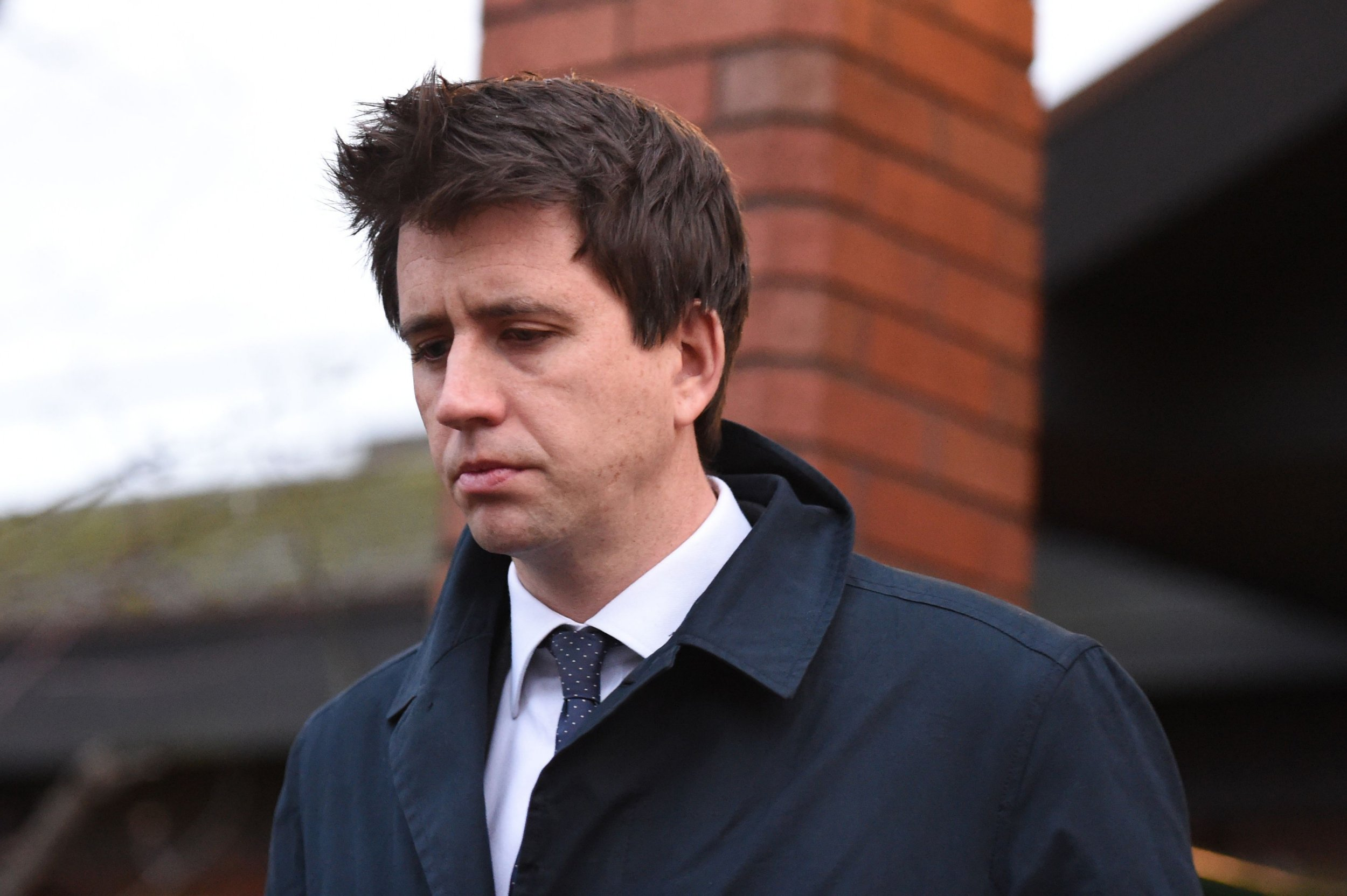 File photo dated 03/01/17 of Alastair Main leaving Wimbledon Magistrates Court, as the married City lawyer has been spared jail after being found guilty of pouring beer over a woman at a Christmas party, pulling up her skirt and repeatedly slapping her bottom. PRESS ASSOCIATION Photo. Issue date: Thursday January 26, 2017. See PA story COURTS Rower. Photo credit should read: Kirsty O'Connor/PA Wire