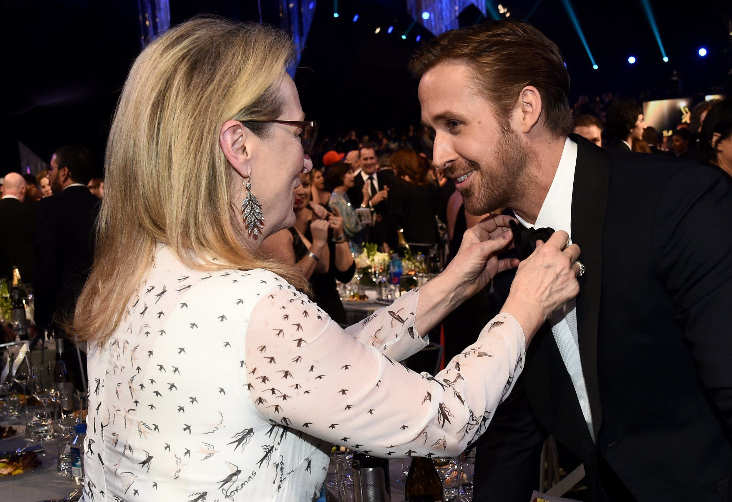 Mandatory Credit: Photo by Buckner/Variety/REX/Shutterstock (8137132ca) Meryl Streep and Ryan Gosling The 23rd Annual Screen Actors Guild Awards, Cocktail Party, Los Angeles, USA - 29 Jan 2017