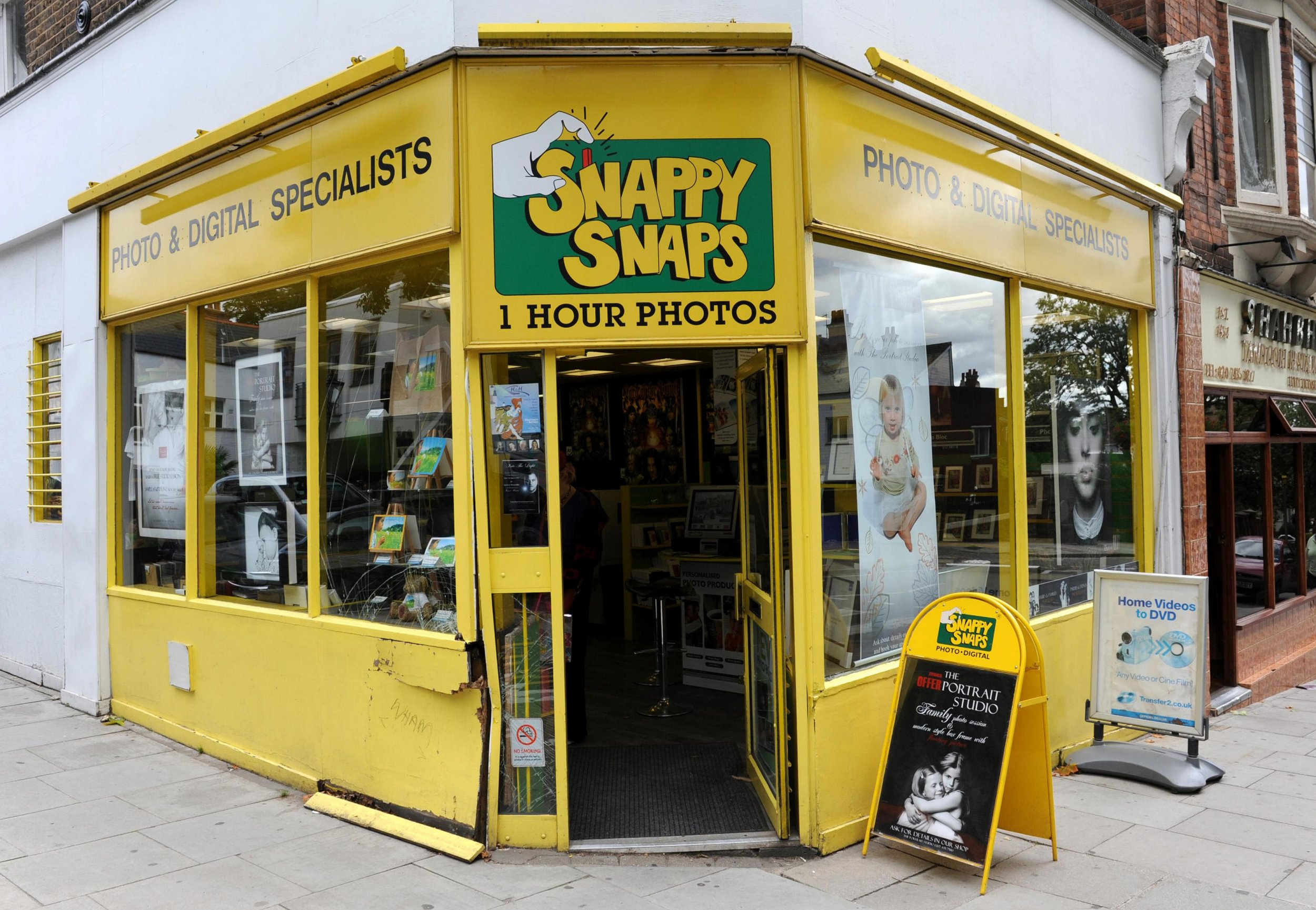 The Snappy Snaps store in Hampstead, north London, which George Michael crashed into in his Range Rover in July. PRESS ASSOCIATION Photo. Picture date: Tuesday August 24, 2010. See PA story COURTS Michael. Photo credit should read: Stefan Rousseau/PA Wire