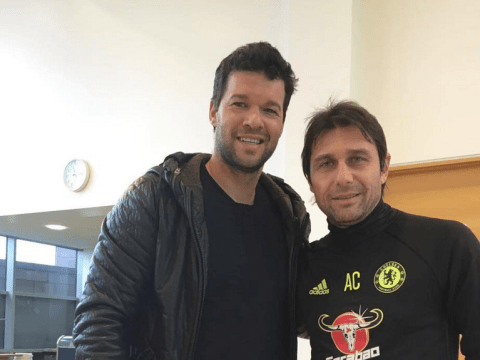 Michael Ballack returns to Chelsea's training ground and meets with Antonio Conte and John Terry