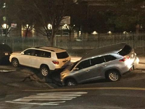 Manhattan sinkhole opens up under parked cars