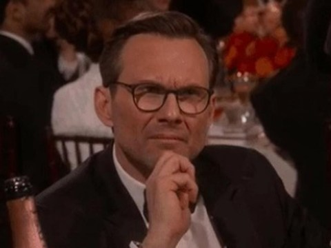 Christian Slater's confused reaction to Tom Hiddleston's Golden Globes speech is priceless