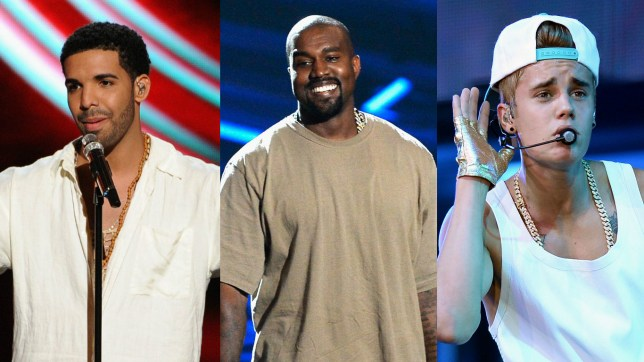 Drake, Kanye West and Justin Bieber (L-R) are said to be boycotting the 2017 Grammys (Picture: 2017)