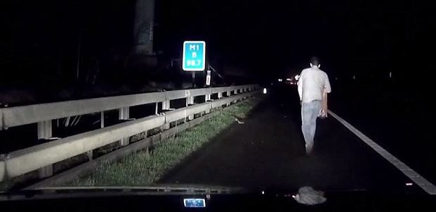 The drunk man was spotted on Junction 13, close to Milton Keyenes (Picture: Mirror Syndication)