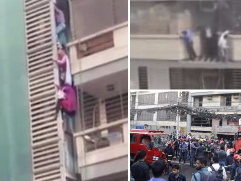 People filmed climbing down balconies of high-rise building to escape fire