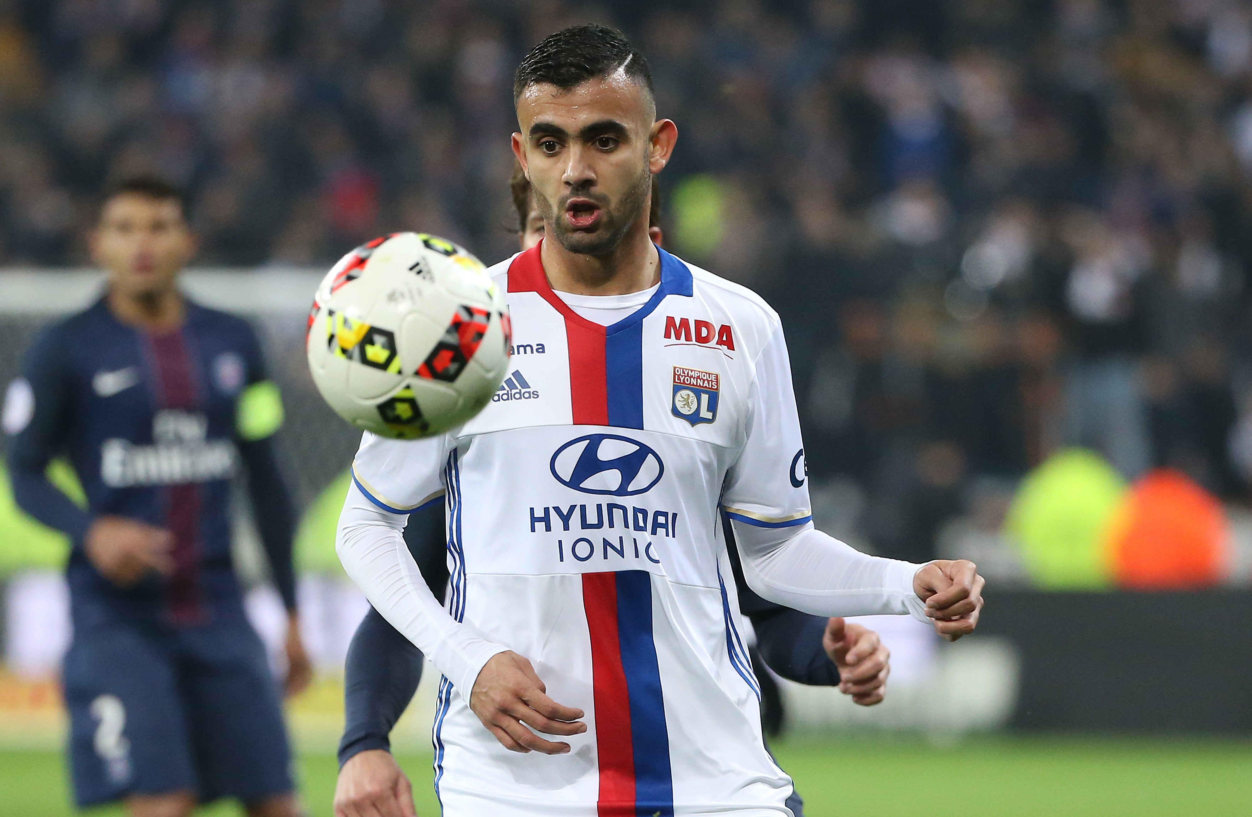 LYON, FRANCE - NOVEMBER 27: Rachid Ghezzal of Lyon in action during the French Ligue 1 match between Olympique Lyonnais (OL) and Paris Saint-Germain (PSG) at Parc OL stadium on November 27, 2016 in Decines near Lyon, France. (Photo by Jean Catuffe/Getty Images)