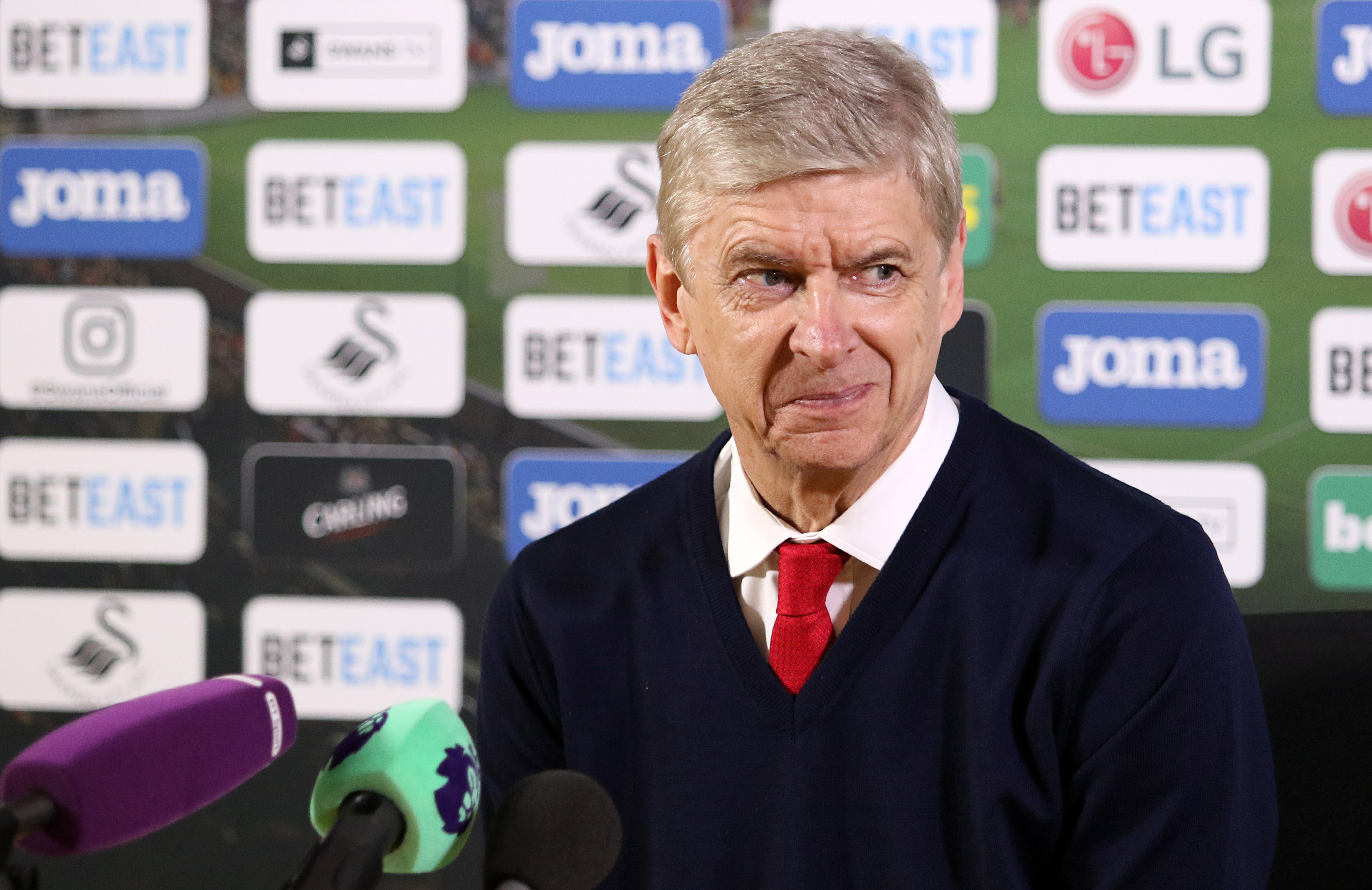 SWANSEA, WALES - JANUARY 14: Arsenal Manager Arsène Wenger during the post match press conference after the Premier League match between Swansea City and Arsenal at The Liberty Stadium on January 14, 2017 in Swansea, Wales. (Photo by Athena Pictures/Getty Images)