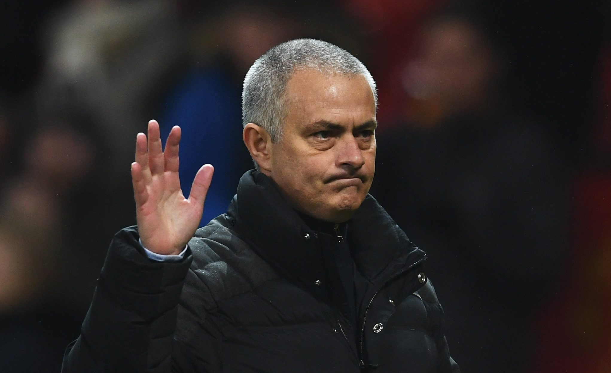 MANCHESTER, ENGLAND - JANUARY 29:  Jose Mourinho manager of Manchester United waves to fans after the Emirates FA Cup Fourth round match between Manchester United and Wigan Athletic at Old Trafford on January 29, 2017 in Manchester, England.  (Photo by Laurence Griffiths/Getty Images)