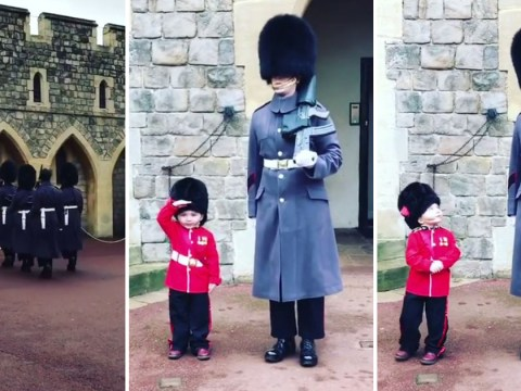 This kid's costume at the Changing of the Guard is unbearably cute