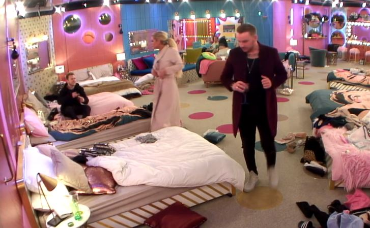 Jamie O' Hara and Bianca Gascoigne were heard kissing in the toilets (Picture: Channel 5)