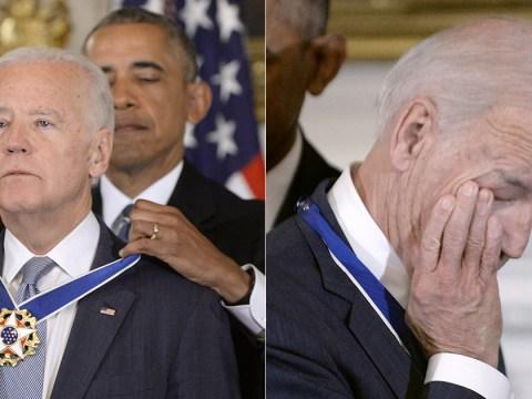 Tearful Joe Biden awarded the Presidential Medal of Freedom by Obama