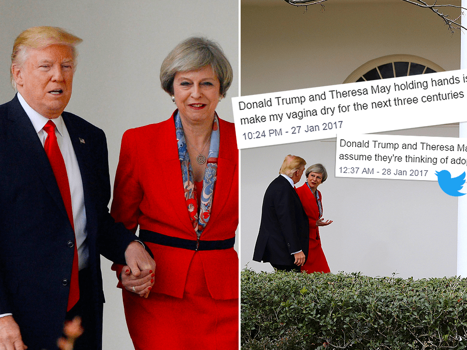 Theresa May and Donald Trump held hands and everyone's grossed out