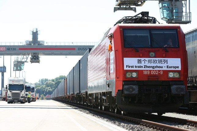 The first Chinese freight train from Zhengzhou arrives at the DUSS RailwayContainer Terminal in Hamburg, Germany (Picture: PA)