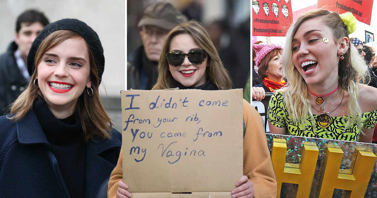 From Emma Watson to Charlotte Church: Celebrities turn out in force for Women's March protests